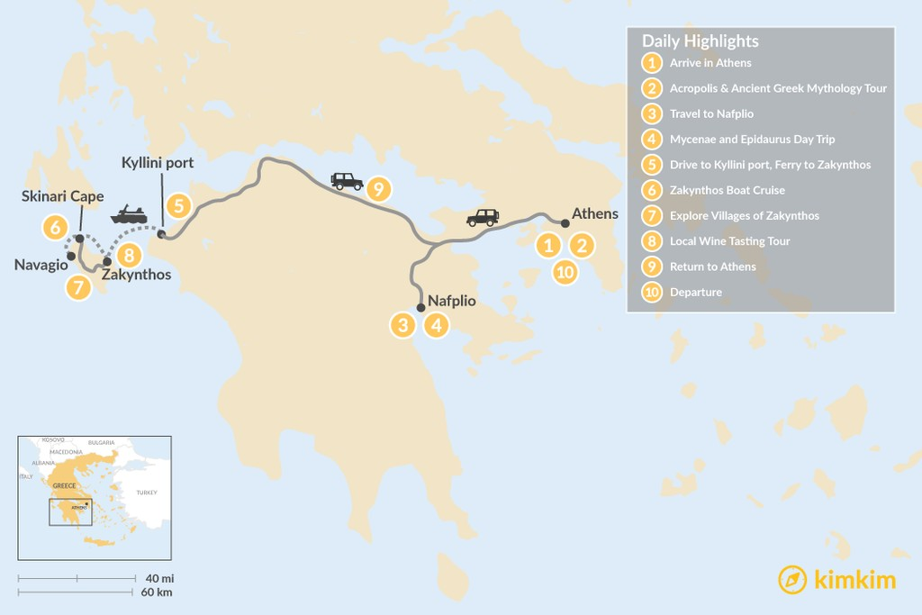 Map of Historic Peloponnese and Zakynthos - 10 Days