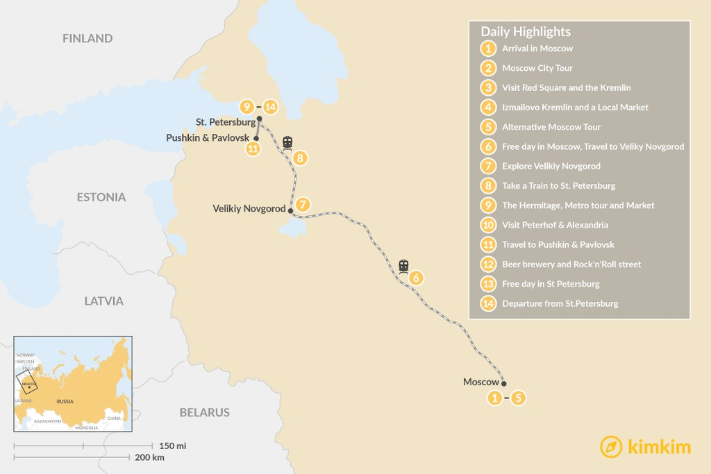 Map of Hidden Gems of Moscow, Veliky Novgorod, and St. Petersburg - 14 Days