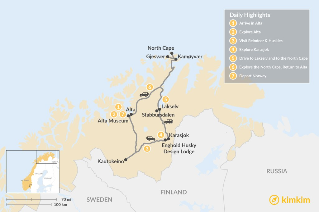 Map of Autumn Road Trip in Norway's Arctic - 7 Days