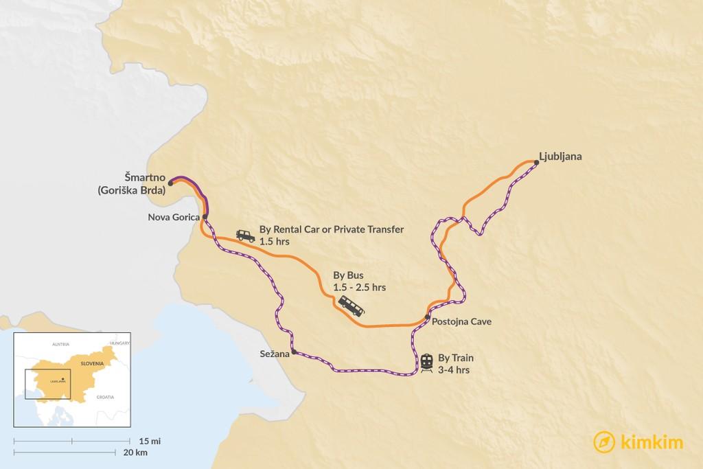 Map of How to Get from Goriška Brda to Ljubljana
