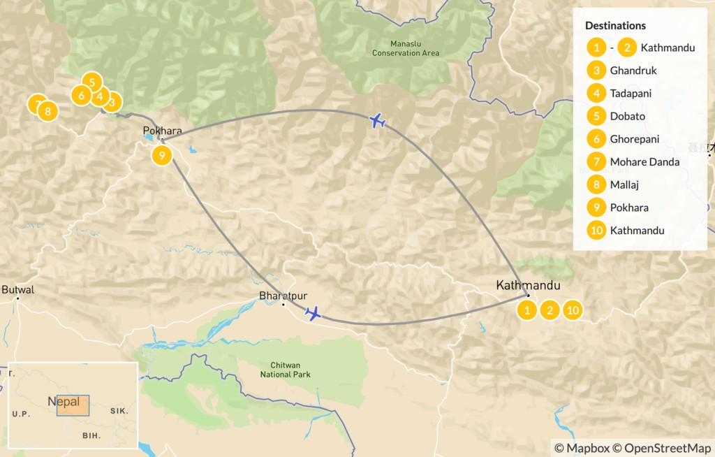 Map of Muldai, Poon Hill, & Mohare Trek - 11 Days