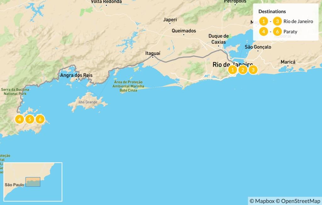 Map of Discover Brazil: Rio de Janeiro & Paraty - 7 Days