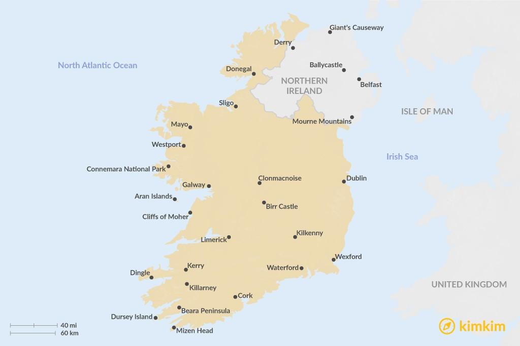 Map of Top Regions in Ireland