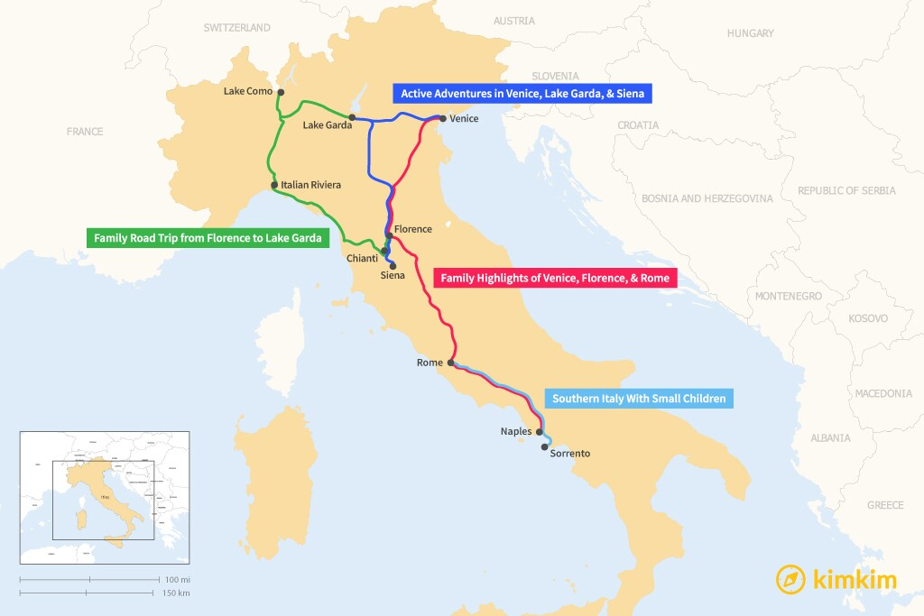 Map of 10 Days in Italy - 4 Family-Friendly Itineraries