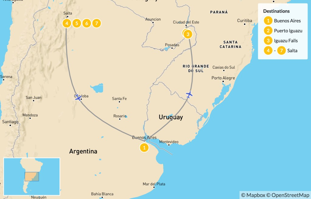 Map of Discover Northern Argentina - 8 Days
