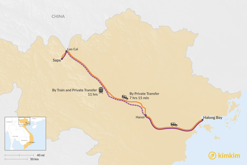 Map of How to Get from Sapa to Halong Bay