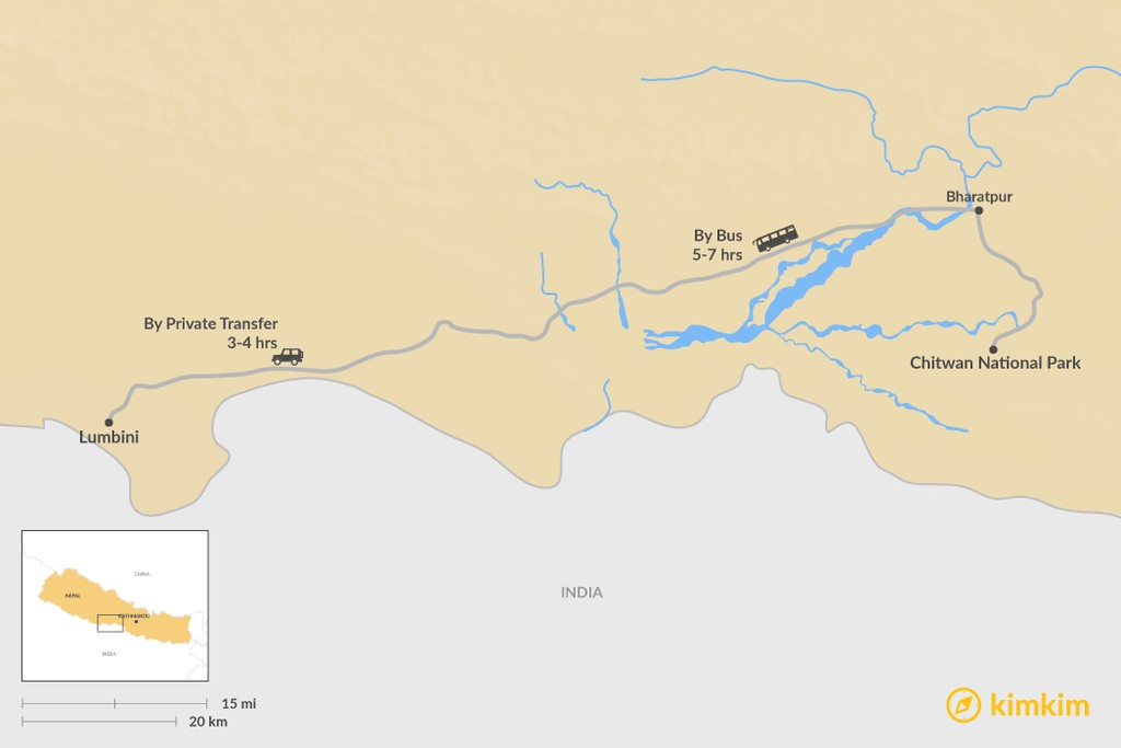 Map of How to Get from Chitwan National Park to Lumbini