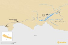 Map thumbnail of How to Get from Chitwan National Park to Lumbini