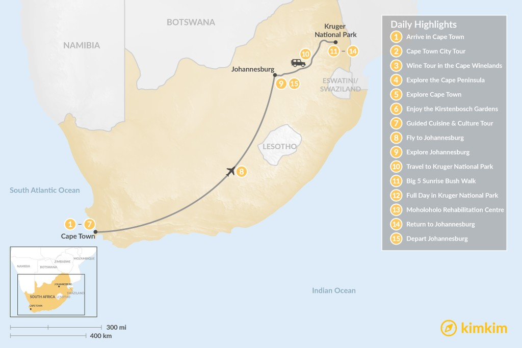Map of Classic South Africa: Cape Town, Johannesburg, & Kruger Safari - 15 Days