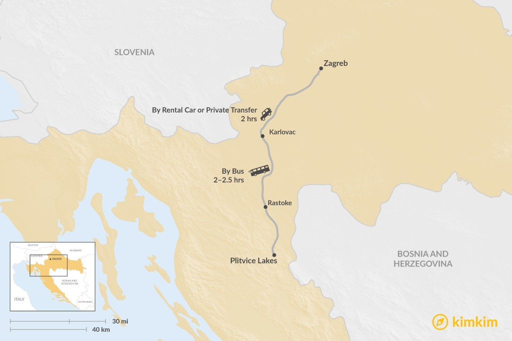 Map of How to Get from Zagreb to Plitvice Lakes National Park