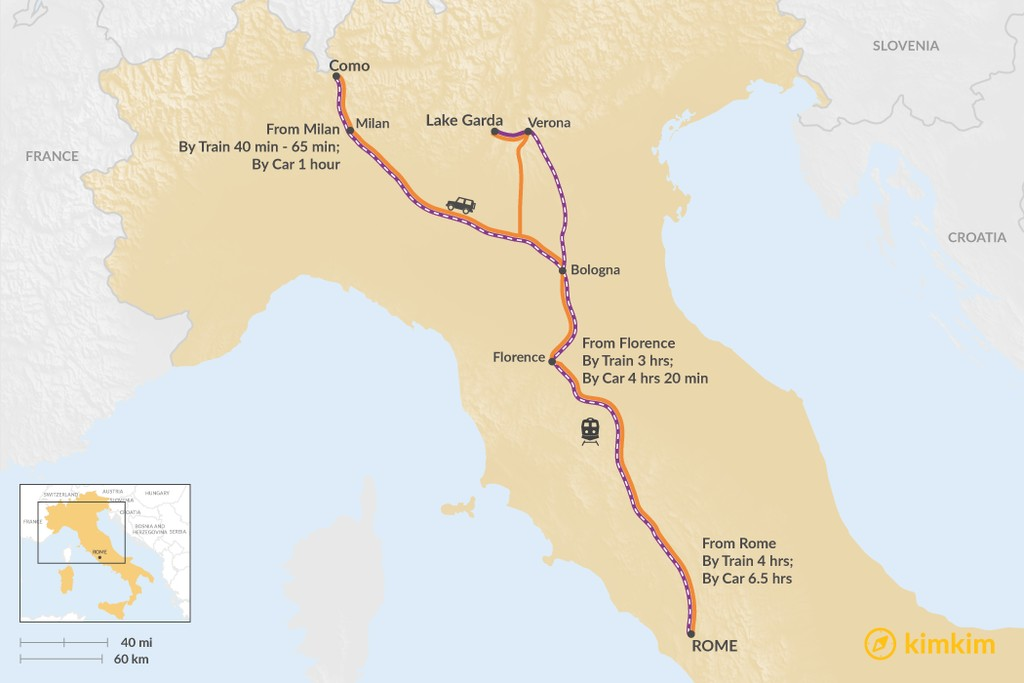 Map of How to Get to the Italian Lakes District