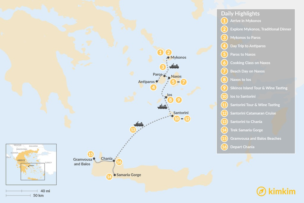 Map of Taste of the Cyclades and Crete - 16 Days