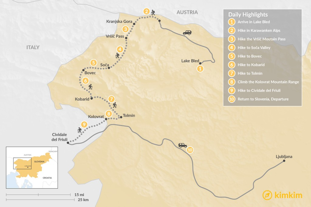 Map of Alps to the Adriatic: Inn-to-Inn Walking Adventure - 10 Days