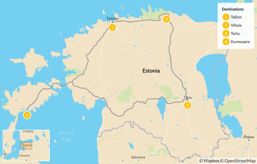 Map of Bike Estonia's Cities & Countryside - 5 Days