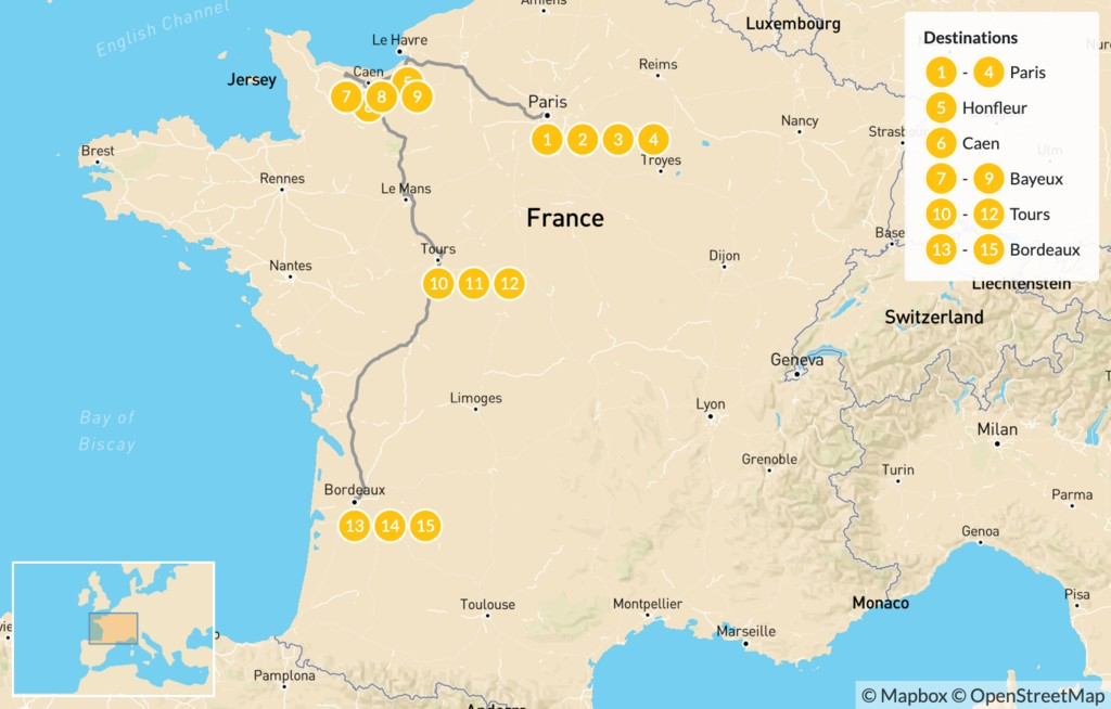 Map of Western France Road Trip: Paris, Normandy, Loire Valley, & Bordeaux - 16 Days