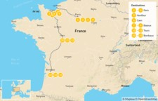 Map thumbnail of Western France Road Trip: Paris, Normandy, Loire Valley, & Bordeaux - 16 Days