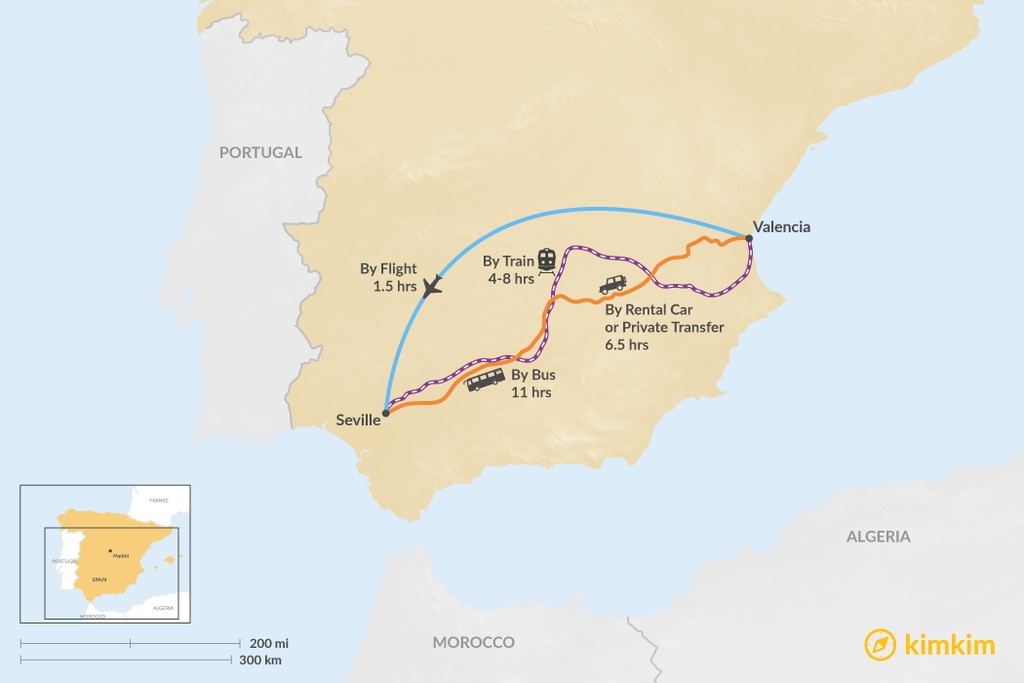 Map of How to Get from Valencia to Seville