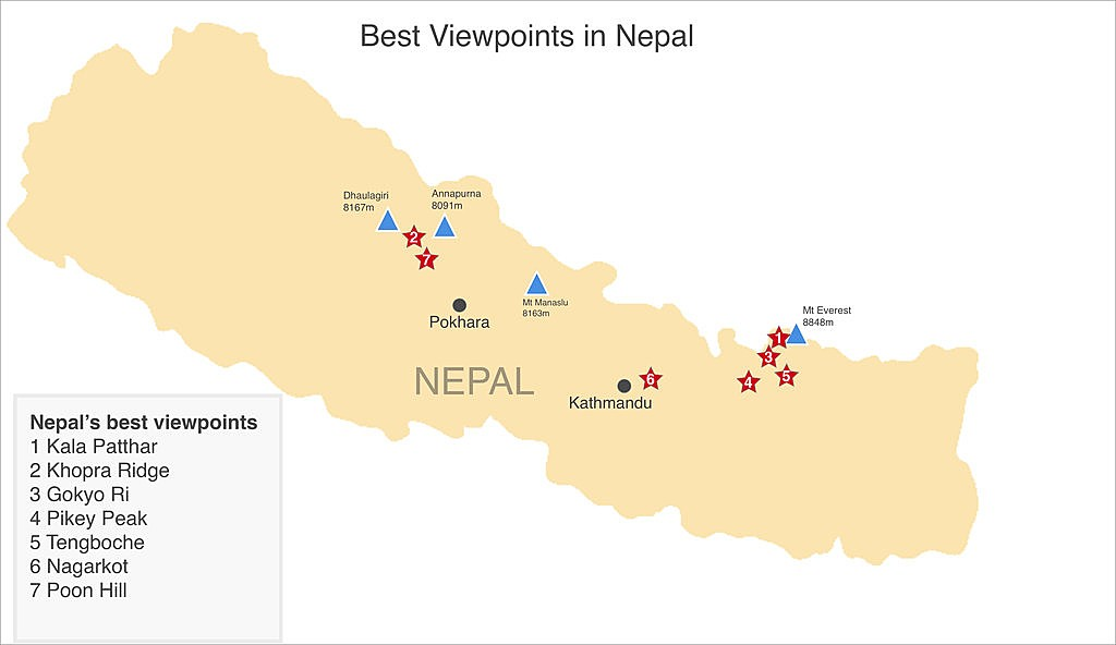 Map of Nepal's Top 6 Viewpoints: Where to See Everest and Other Himalayan Giants