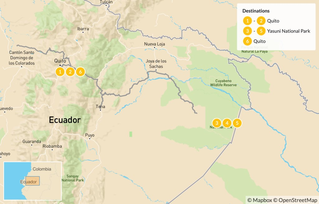 Map of Nature & Culture in Ecuador: Quito and the Amazon Rainforest - 7 Days