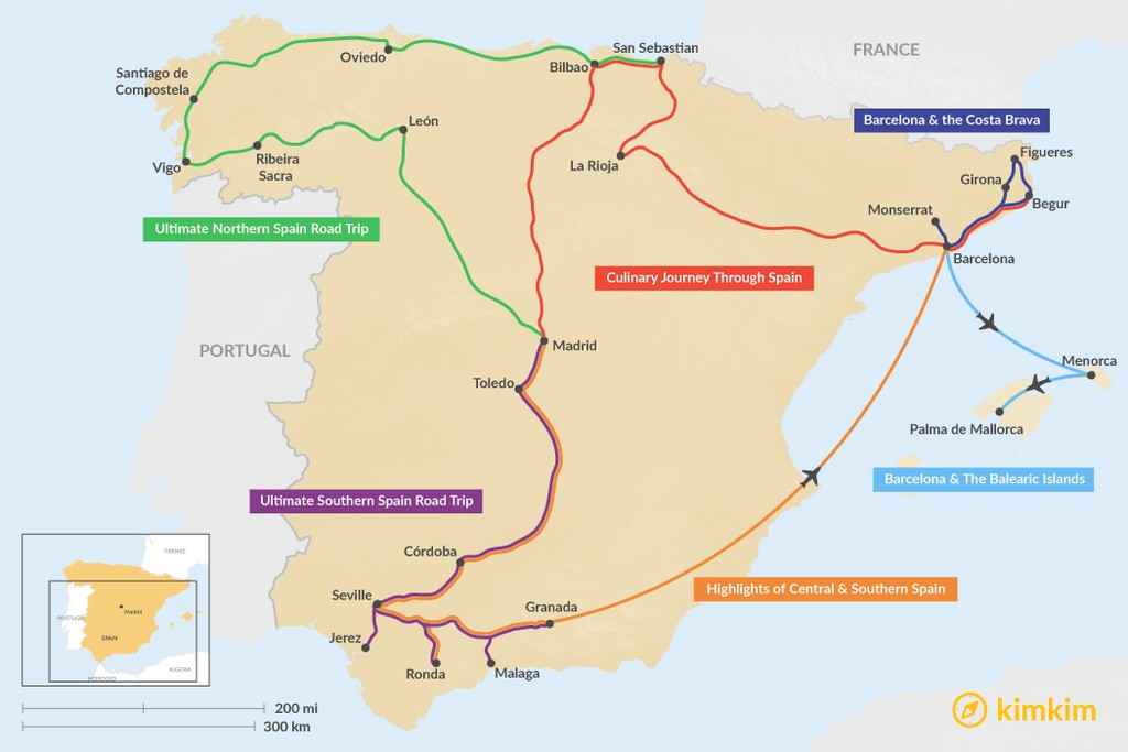 Map of 12 Days in Spain - 6 Unique Itinerary Ideas