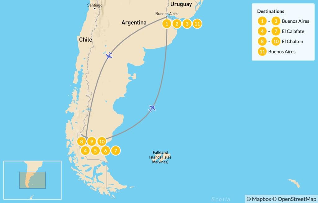 Map of Los Glaciares & Fitz Roy - 11 Days
