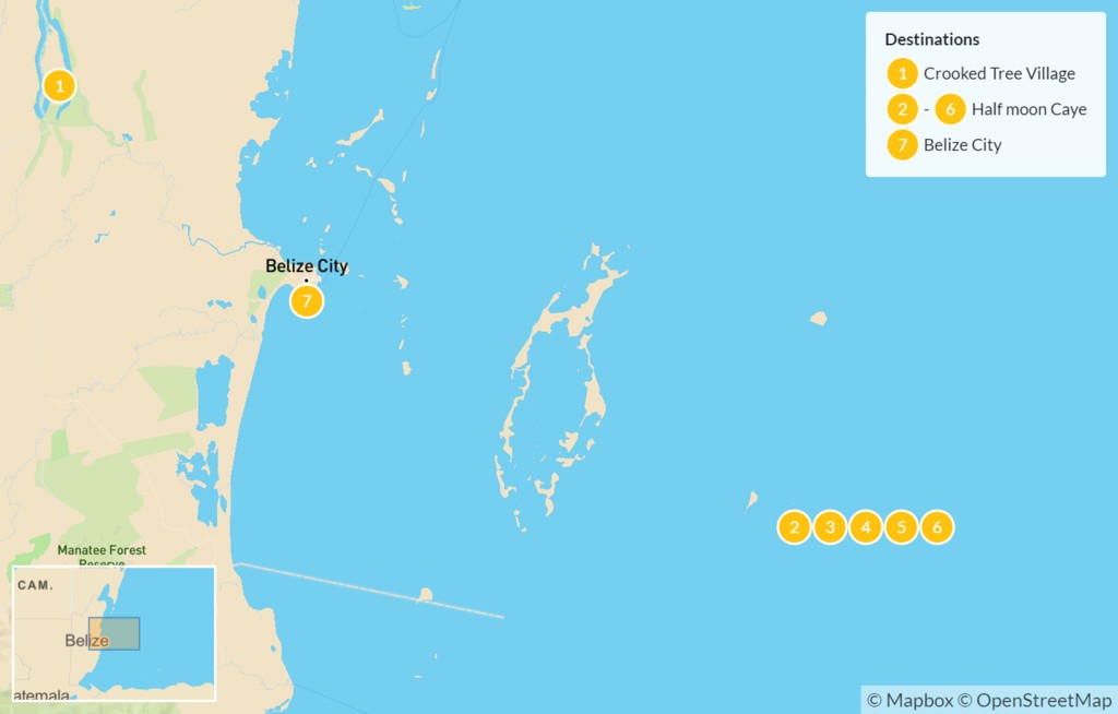 Map of Belize Lighthouse Reef Adventure - 7 Days