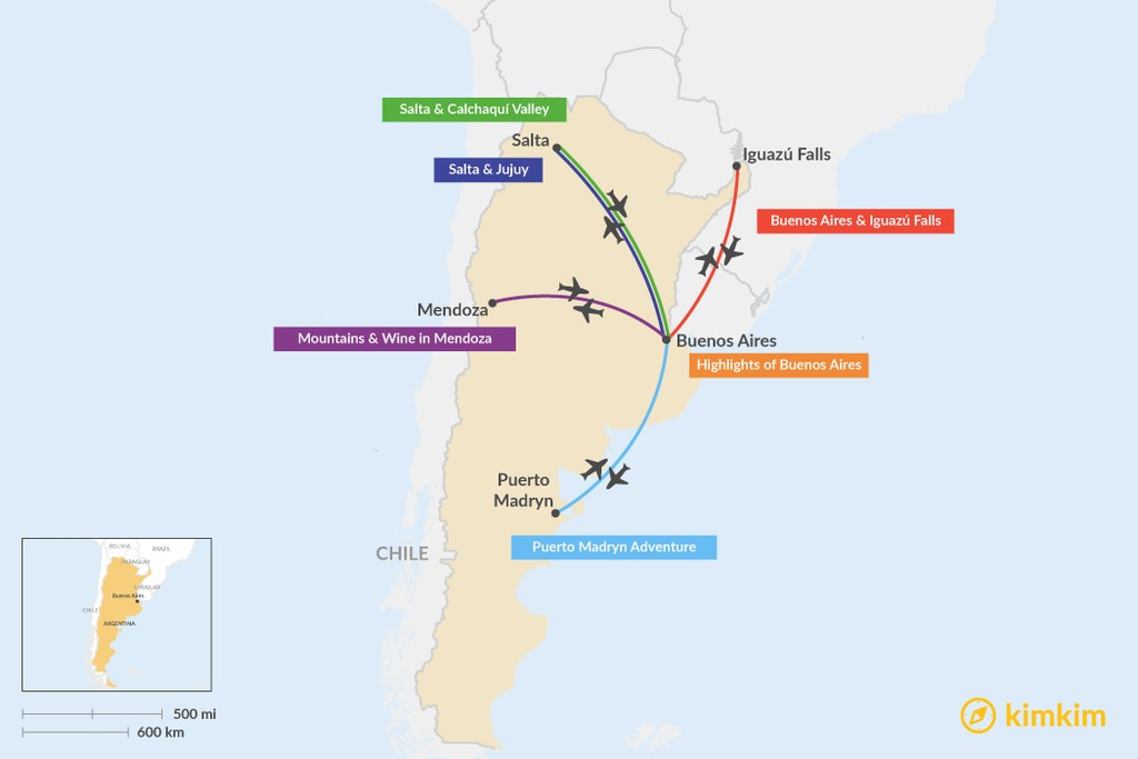 Map of 5 Days in Argentina - 5 Unique Itinerary Ideas
