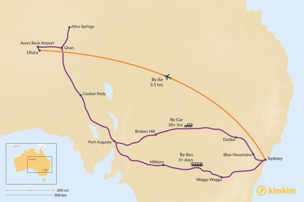 Map of How to Get from Sydney to Uluru