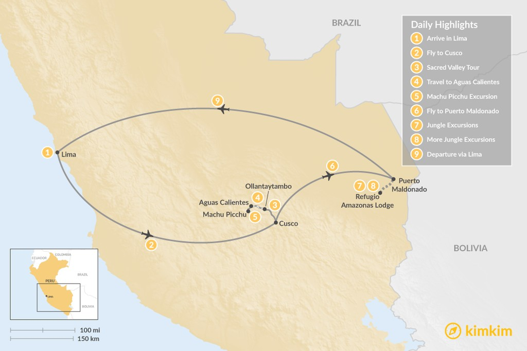 Map of Sacred Valley, Short Inca Trail & Amazon Adventure - 9 Days