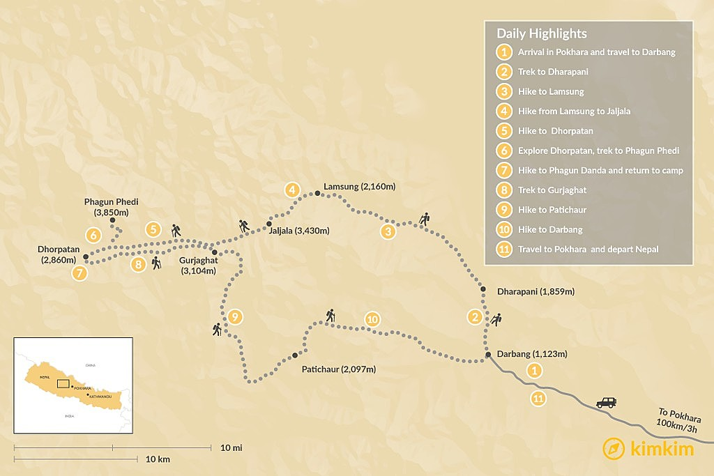 Map of Dhorpatan Trek - 14 Days