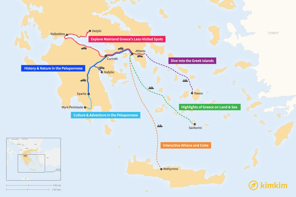 Map of 7 Days in Greece - 6 Family-Friendly Itineraries