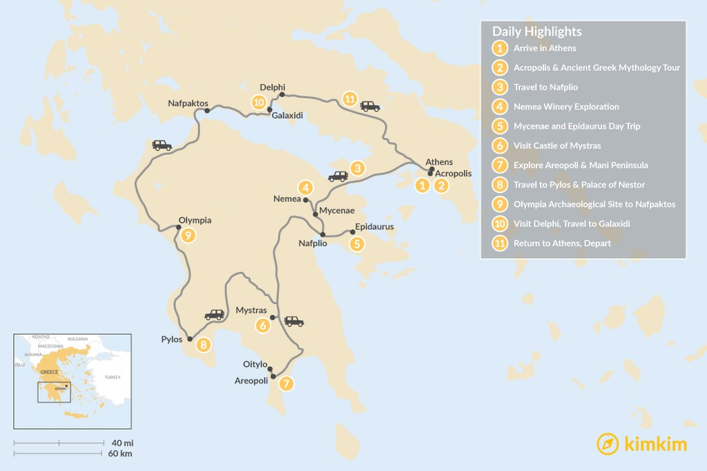 Map of Mainland Greece Road Trip - 11 Days