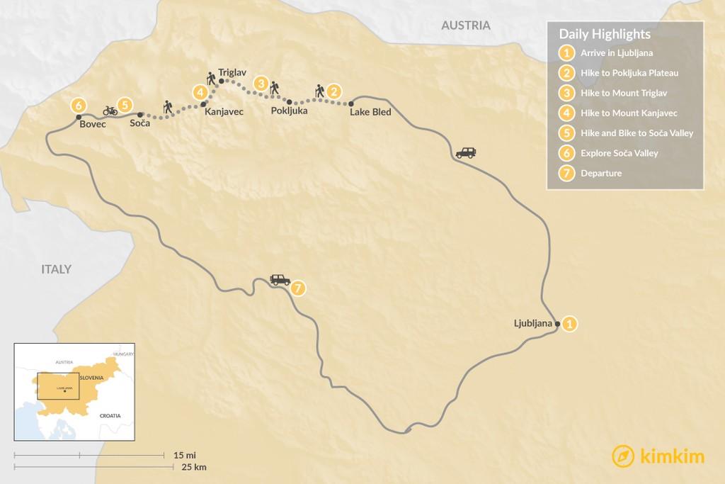 Map of Hiking & Biking in Slovenia's Julian Alps - 7 Days
