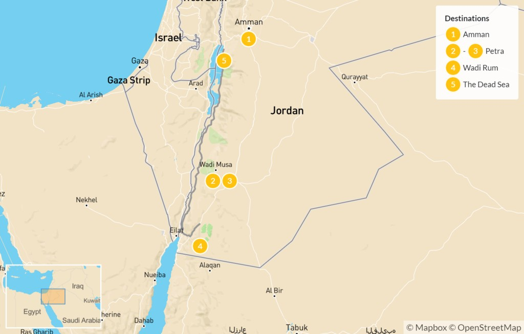 Map of Best of Jordan: Amman, Petra, Wadi Rum, & The Dead Sea - 6 Days