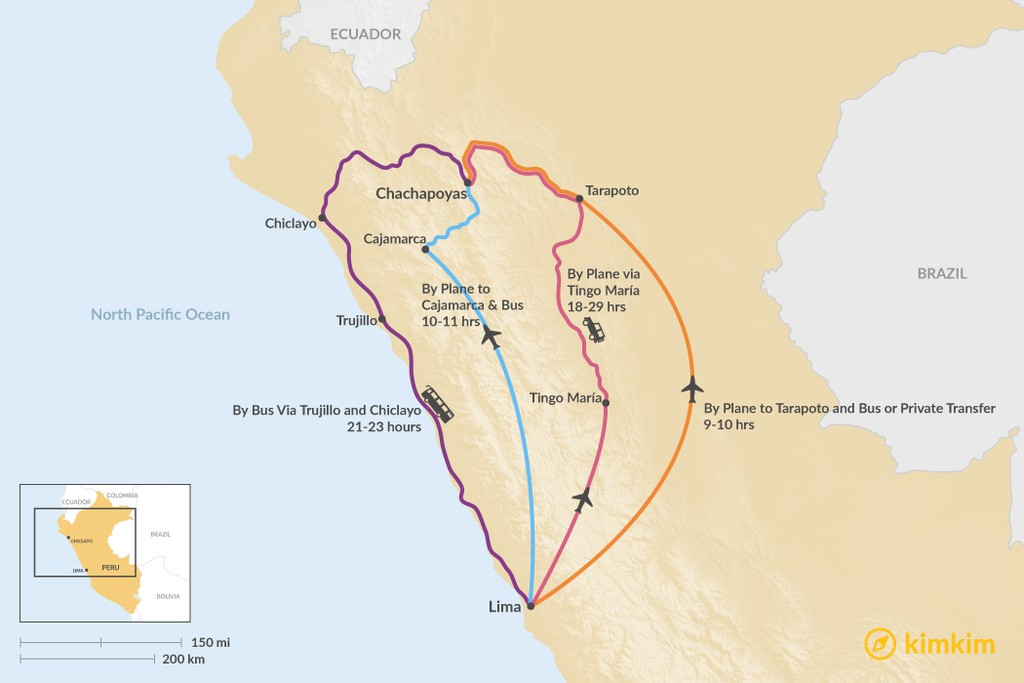 Map of How to Get from Lima to Chachapoyas