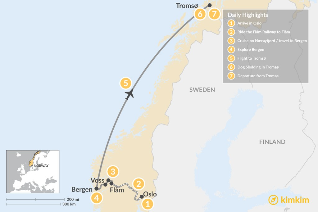 Map of Norway Epic Winter Excursion: Oslo, Bergen, Tromsø - 7 Days