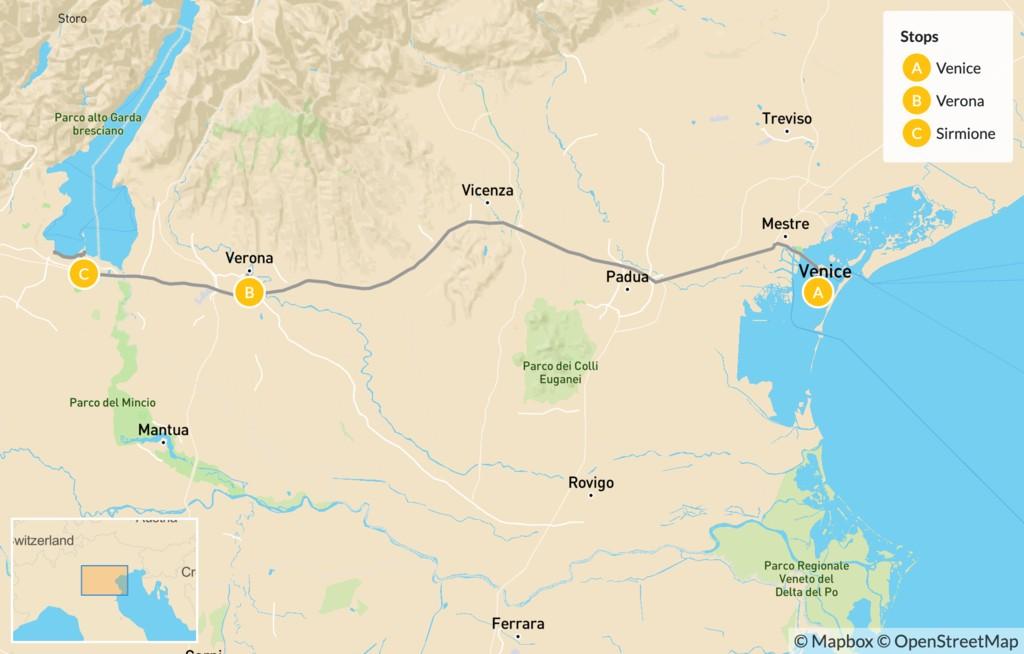 Map of Highlights of Venice, Verona & Lake Garda - 9 Days