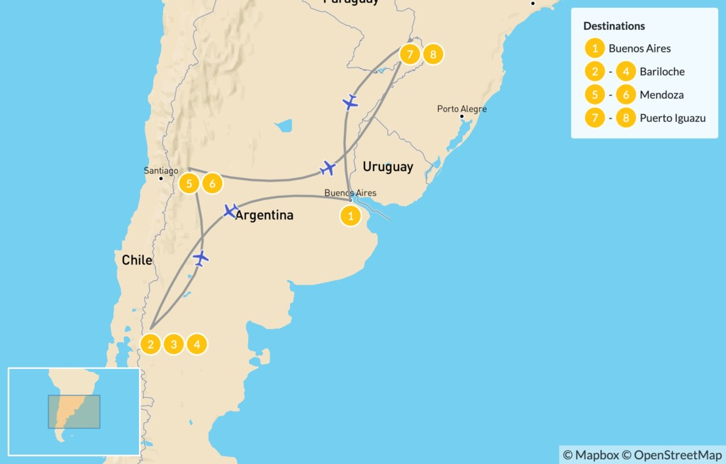 Map of Classic Argentina: Patagonia, Mendoza, & Iguazú - 9 Days