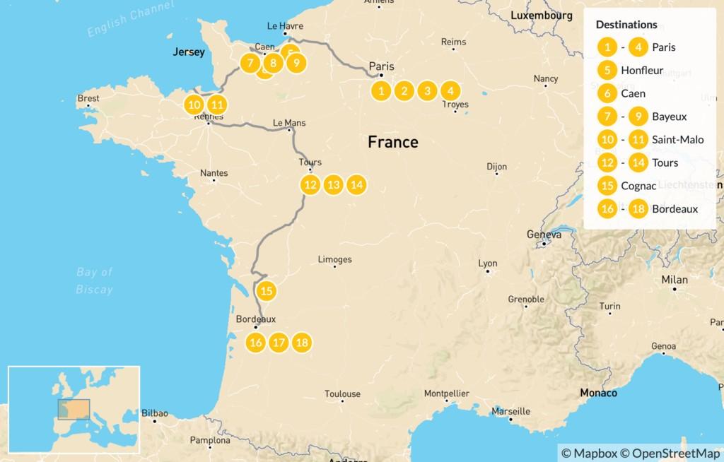 Map of Road Trip Through Western France: Paris, Normandy, Brittany, Cognac, Bordeaux, & More - 19 Days