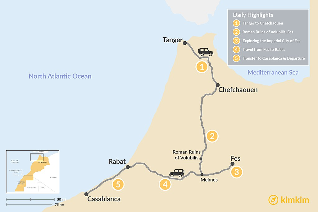 Map of Northern Morocco's Cities: Tangier to Casablanca - 5 Days