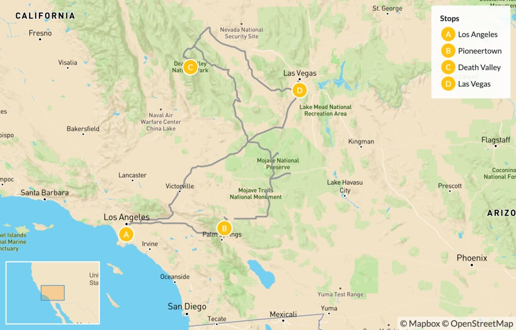 Map of Joshua Tree, Death Valley, and Red Rock Canyon - 7 Days