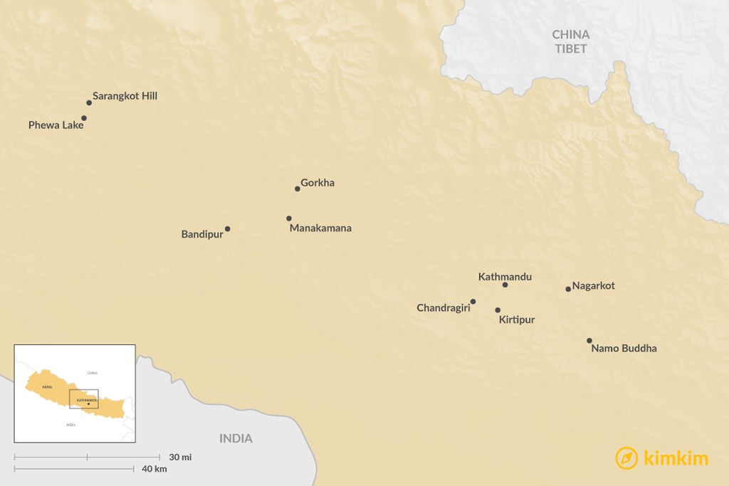 Map of 10 Easy Himalayan Viewpoints in Nepal: Best Mountain Vistas with No Trekking Required