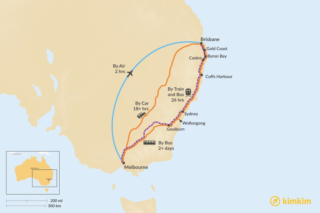 Map of How to Get from Melbourne to Brisbane