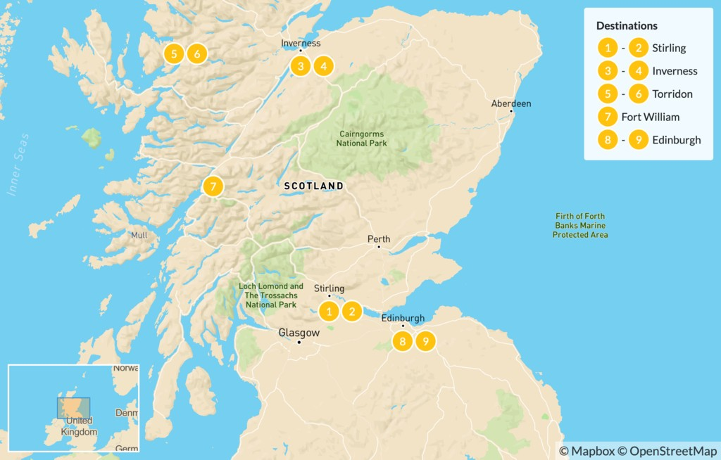 Map of Discover the Scottish Highlands: Perthshire, Cairngorms National Park, Ben Nevis & Edinburgh - 9 Days