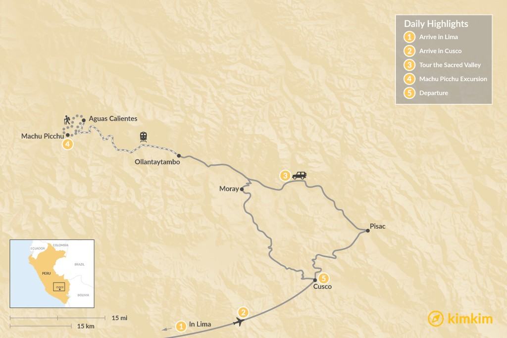 Map of Sacred Valley Highlights - 5 Days