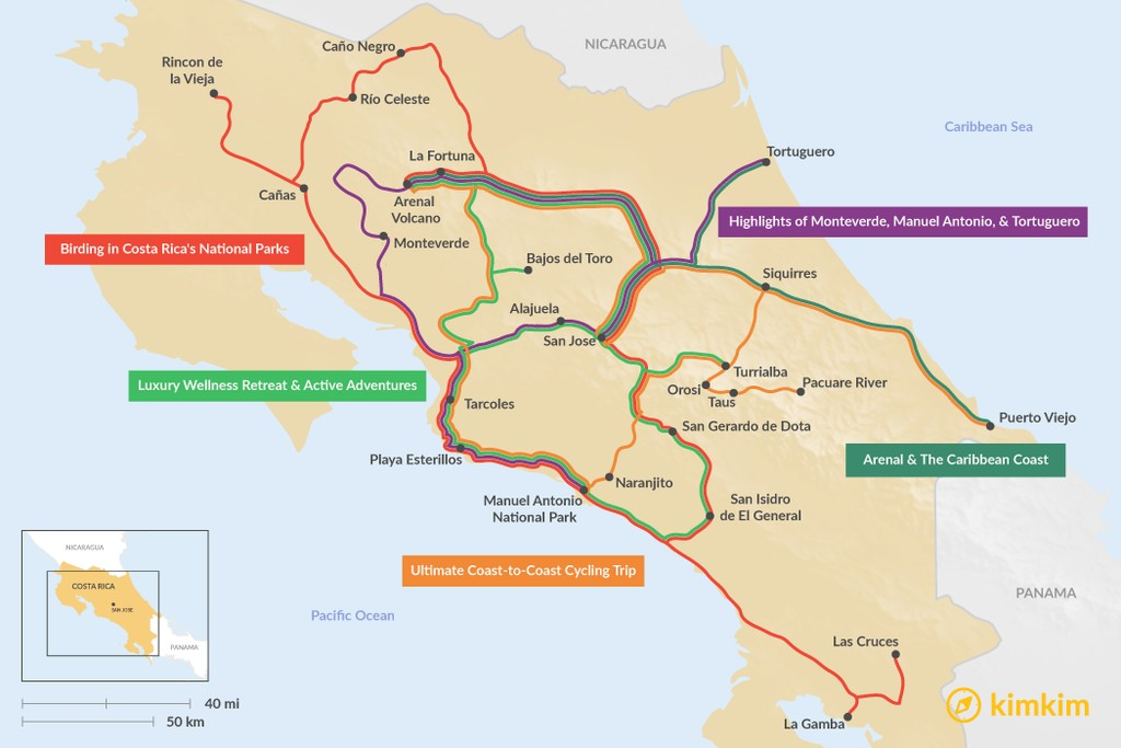 Map of 15 Days in Costa Rica - 5 Unique Itinerary Ideas