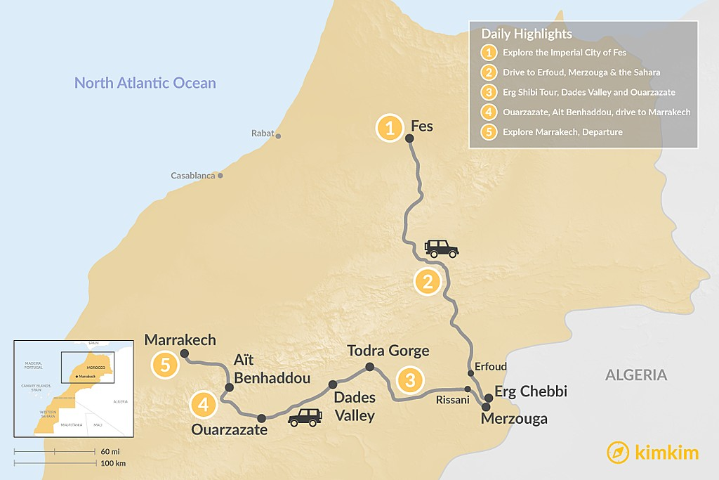 Map of A Taste of Morocco: Fes, Sahara Desert & Marrakech - 5 Days