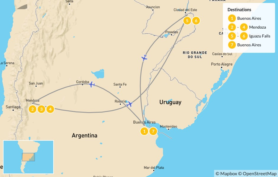 Map of Relaxed Buenos Aires, Mendoza, & Iguazú Falls - 8 Days