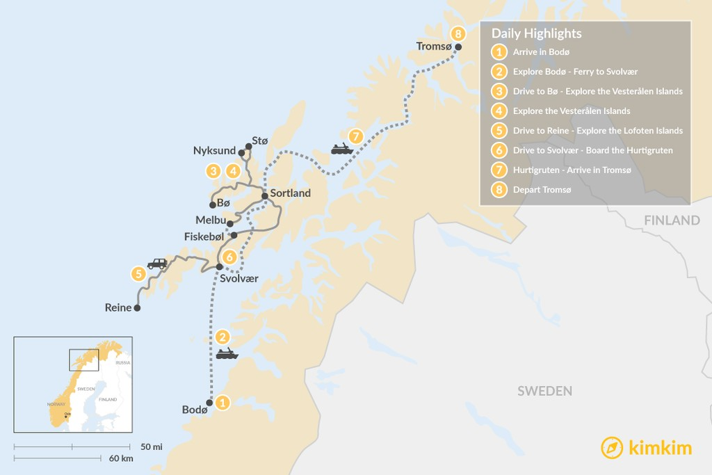 Map of Wild Islands in Norway's Arctic - 8 Days
