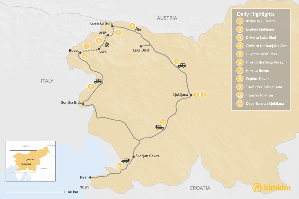 Map of Active Adventure: From the Alps to the Adriatic - 11 Days